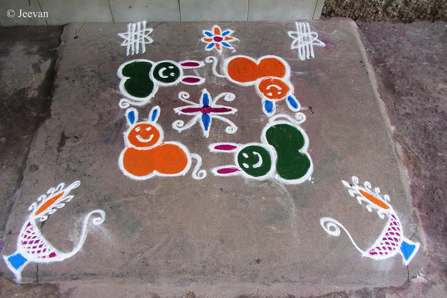 Cute Cat Kolam by Grandma