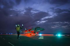 USS Bonhomme Richard conducts night flight operations.