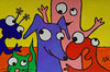 Threefingermen - Bluelo, Charlotta the Green Cat, Millo, Pinklo, Redlo