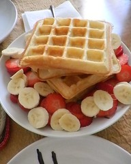Vanilla Waffles with fruit garnish
