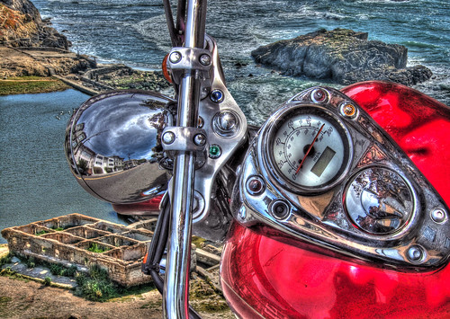 Red Bike on the Edge of a Cliff Overlooking Sutro Baths, HDR Montage