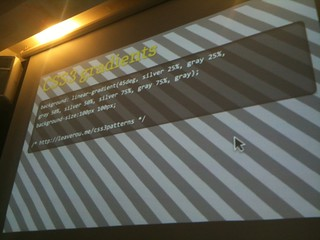 Check out @LeaVerou's demo of #CSS3 patterns at #standardsnext and her gallery (written in this pic): | by photo.nick