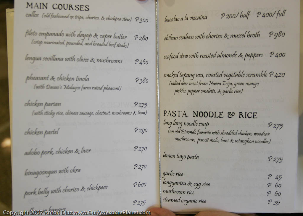 Pia y damaso 39 s philippine colonial cuisine our awesome for List of entree dishes