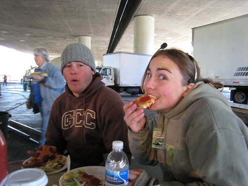 jen eating pizza