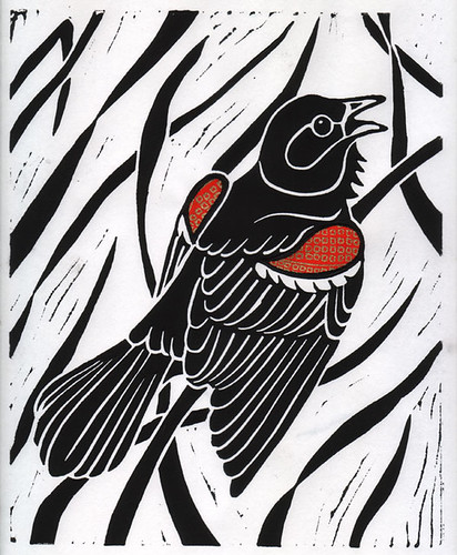 Red-Winged Blackbird - Linocut Print