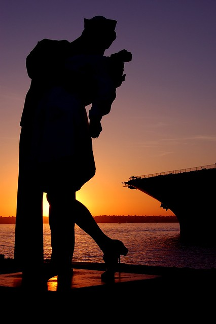 USS Midway Navy Sailor and Nurse Silhouette San Diego ...