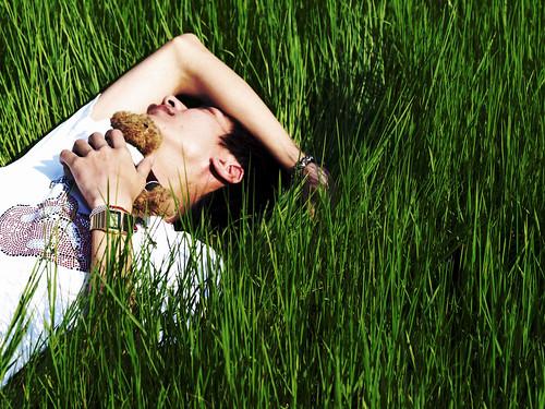 牧草原上鋪了葱豔床單,