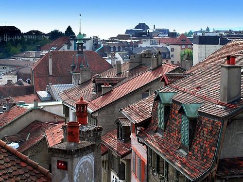 switzerland suisse belltower lausanne roofs tiles chimneys pinnacle vaud toits cheminées tuiles toitures clocheton mygearandme