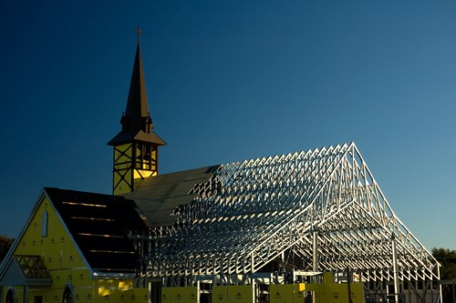 blue sky building church yellow architecture sunrise silver dawn construction texas katy steeple girders