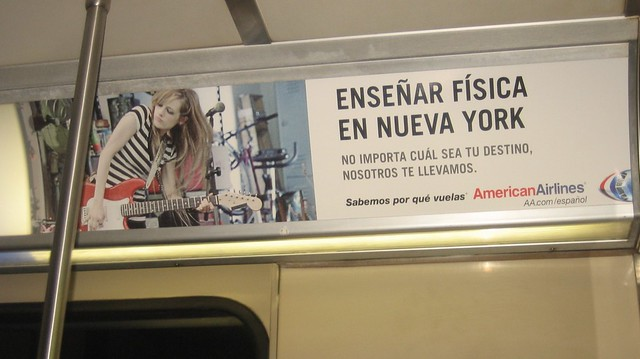 One of many ads in Español seen on the NYC subway