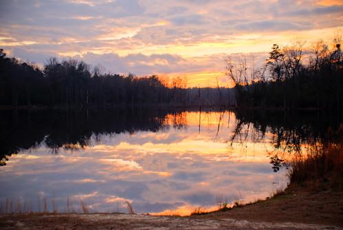 sunset lake clouds hdr