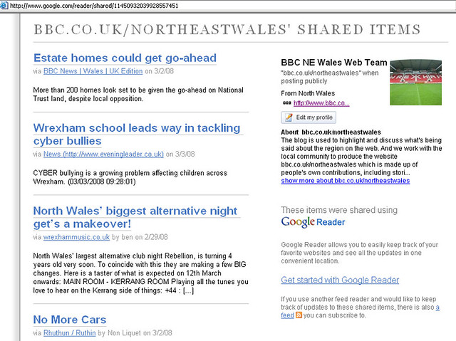 Google Reader - screengrab