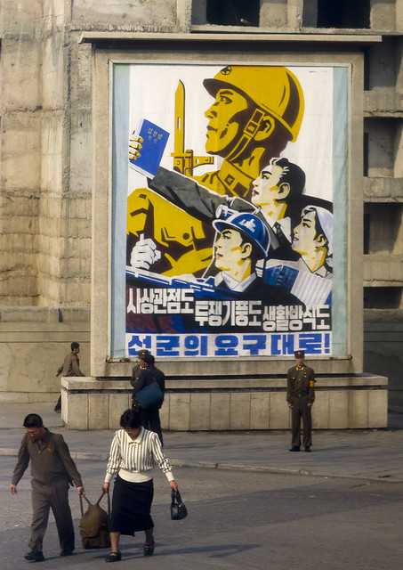 Propaganda poster and daily life -North Korea
