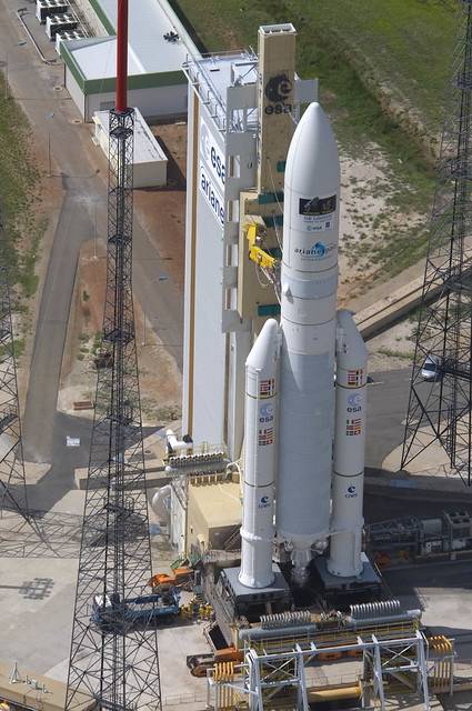 Aerial view of Ariane 5 ECA on launch pad