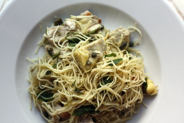 chicken with artichokes and angel hair | Flickr - Photo Sharing!