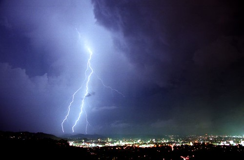 lightning over Fukushima city