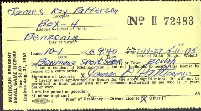 1967 michigan resident small game hunting license h72483 for Michigan fishing license online