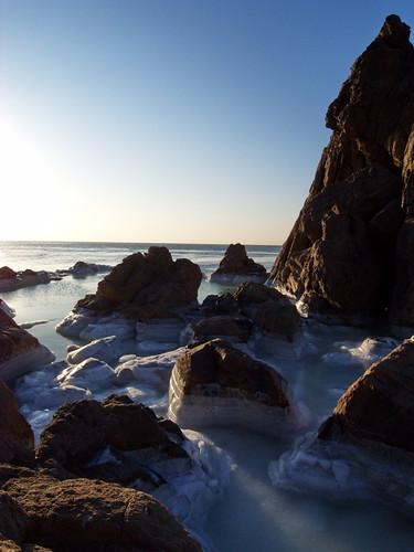 ocean china winter light sea sun ice beach nature sunrise landscape frozen coastline