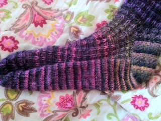 Last view, fun heel stripes, love this pattern!