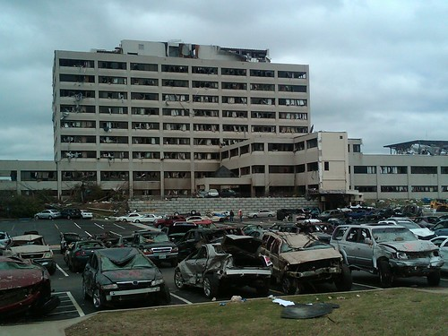Full View of Hospital and Parking Lot after the Tornado
