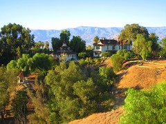 Morey Mansion with the San Bernardino Mountains