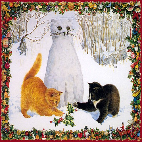 snow cat and kittens with border
