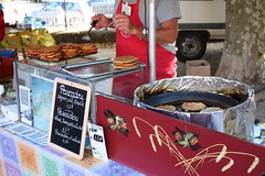 One of the stalls selling food