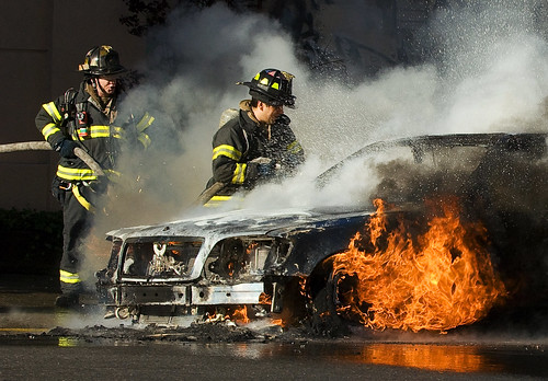 Car fire on Watts Street