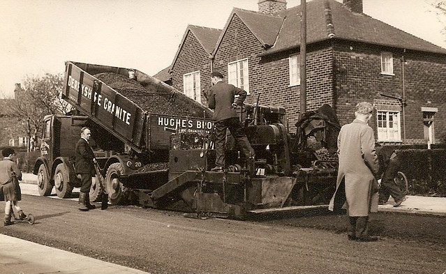 Foden Tipper and Barber Green Paver laying the road surfac ...