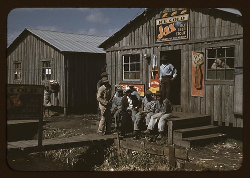 "Migratory laborers outside of a ""juke joint"" during a slack season, Belle Glade, Fla. (LOC)"