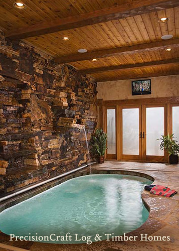 Custom Design | Timber Frame Home | Indoor Pool | by PrecisionCraft Timber Homes