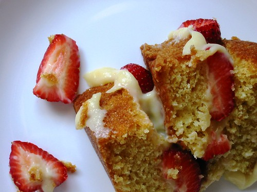 Orange Layer Cake with Strawberries & Amaretto Pastry Cream (large)