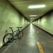 a green bike in the green tunnel; waiting for something in an other color