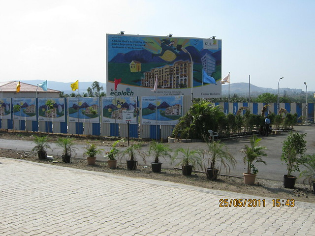 Site hoarding and office of Kumar Builders' KUL Ecoloch Township at Mahalunge