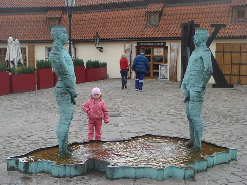 Sculpture by the Kafka museum