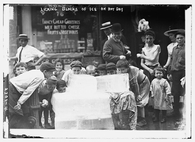 Licking blocks of ice on hot day (LOC)