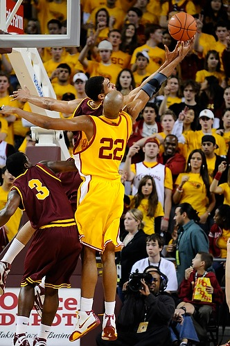 USC forward Taj Gibson (22) and Arizona State's Jeff Pendergraph (4) fight for a rebound during the first half of the USC Trojans' 67-53 victory over the Arizona State Sun Devils at the Galen Center on February 2, 2008.