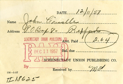 Schenectady Union receipt