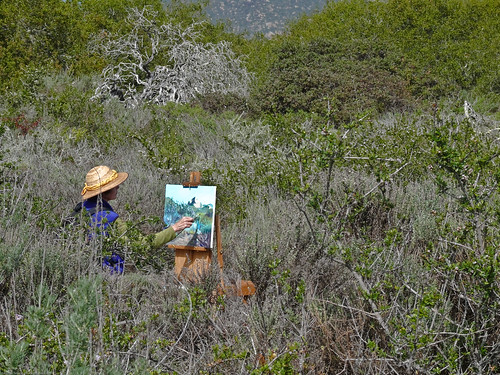 Artist Barbara Rosenthal Painting in the Elfin Forest in Los Osos, CA 08 March 2008 3 of 4