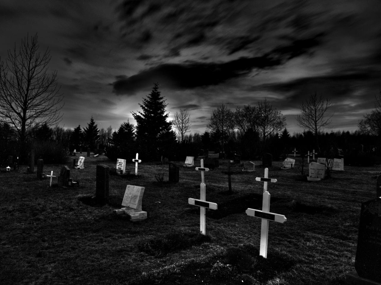 Öskjuhlíð Cemetery at Night 2 - a photo on Flickriver