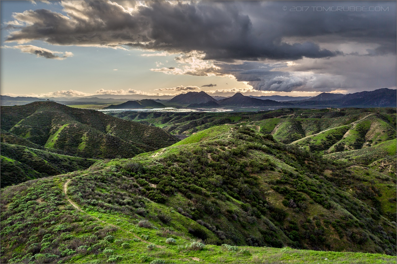 Landscape Rock Yucaipa : Trail hills green spring storm countryside california landscape