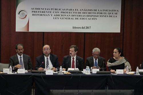 El miércoles 15 de febrero, se celebraron en el Senado de la República, las Audiencias públicas para el análisis de la iniciativa preferente con proyecto de decreto por el que se reforman y adicionan diversas disposiciones de la Ley General de Educación.