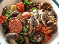 Garlic Mushroom with chorizo and peppers