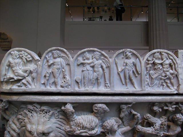 Endymion sarcophagus(reliefs along left side of lid ...
