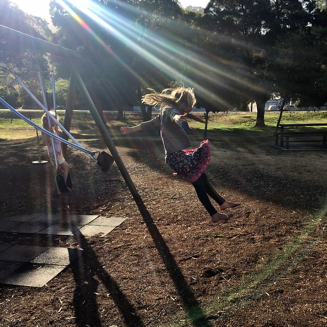 Swing jumping in sunbeams. Franklin. Tasmania.