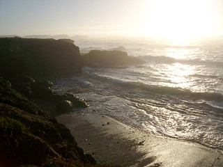 Waves and surf near sunset at Glass Beach in northern California - glassbeach04