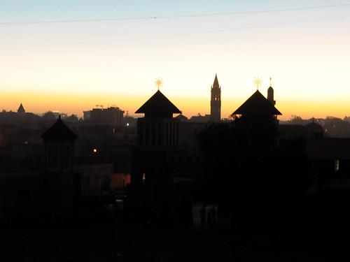 africa sunset silhouette cathedral muslim mosque orthodox romancatholic asmara eritrea