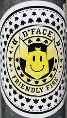 D Face. Friendly Fire. Sticker