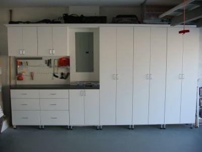 White melamine garage cabinets flickr photo sharing for Closet world garage