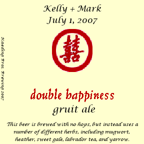 Double Happiness Gruit Ale label
